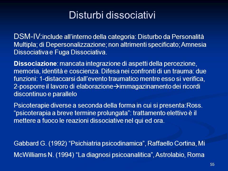 55 Disturbi dissociativi DSM-IV: include allinterno della categoria: Disturbo da Personalità Multipla; di Depersonalizzazione; non altrimenti specific