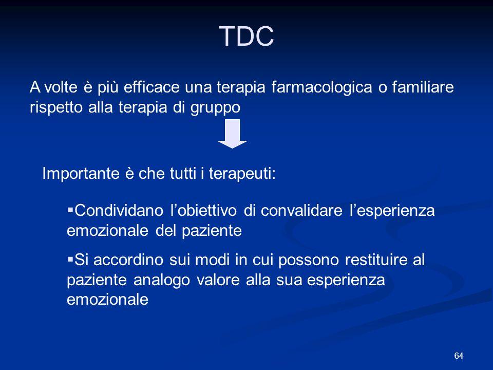 64 TDC A volte è più efficace una terapia farmacologica o familiare rispetto alla terapia di gruppo Importante è che tutti i terapeuti: Condividano lo