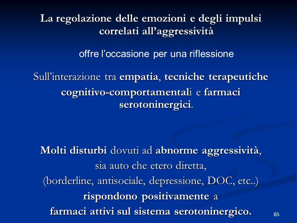65 La regolazione delle emozioni e degli impulsi correlati allaggressività Sullinterazione tra empatia, tecniche terapeutiche cognitivo-comportamental