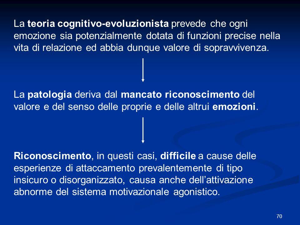 70 La teoria cognitivo-evoluzionista prevede che ogni emozione sia potenzialmente dotata di funzioni precise nella vita di relazione ed abbia dunque v
