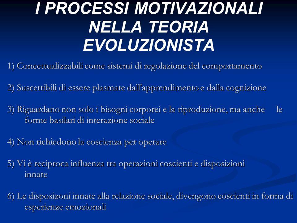 I PROCESSI MOTIVAZIONALI NELLA TEORIA EVOLUZIONISTA 1) Concettualizzabili come sistemi di regolazione del comportamento 2) Suscettibili di essere plas