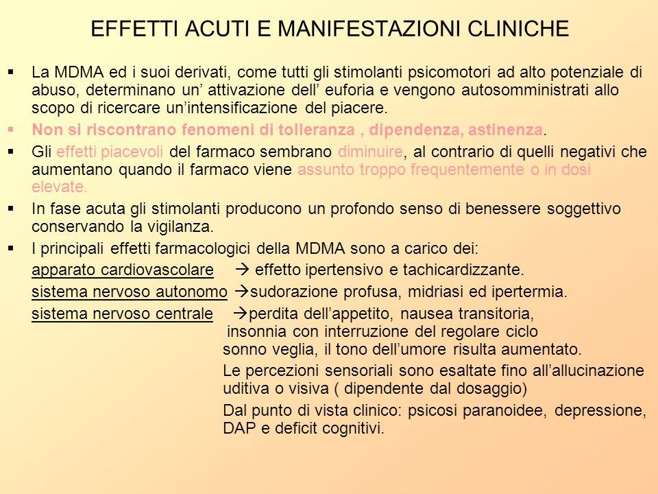 EFFETTI ACUTI E MANIFESTAZIONI CLINICHE La MDMA ed i suoi derivati, come tutti gli stimolanti psicomotori ad alto potenziale di abuso, determinano un