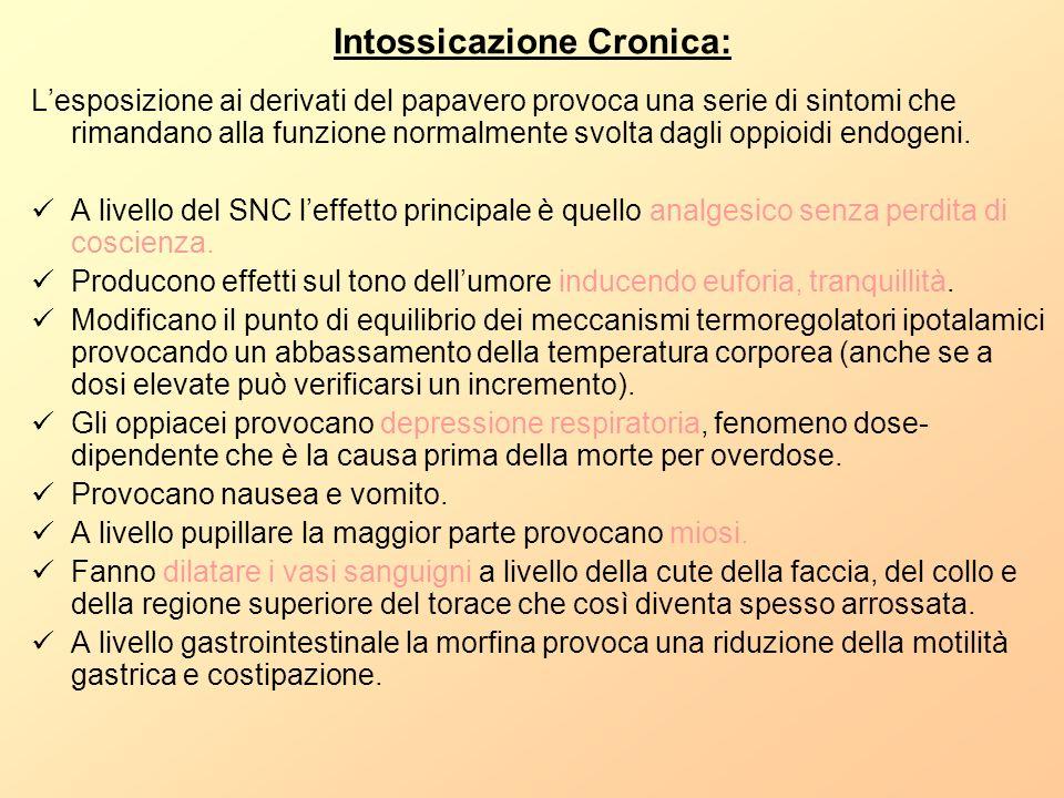 Intossicazione Cronica: Lesposizione ai derivati del papavero provoca una serie di sintomi che rimandano alla funzione normalmente svolta dagli oppioi