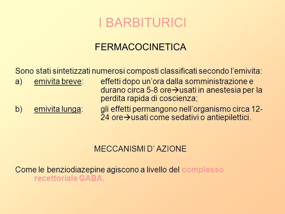I BARBITURICI FERMACOCINETICA Sono stati sintetizzati numerosi composti classificati secondo lemivita: a)emivita breve:effetti dopo unora dalla sommin
