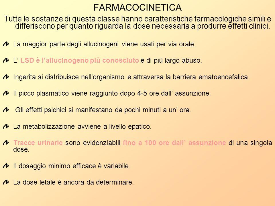 FARMACOCINETICA Tutte le sostanze di questa classe hanno caratteristiche farmacologiche simili e differiscono per quanto riguarda la dose necessaria a