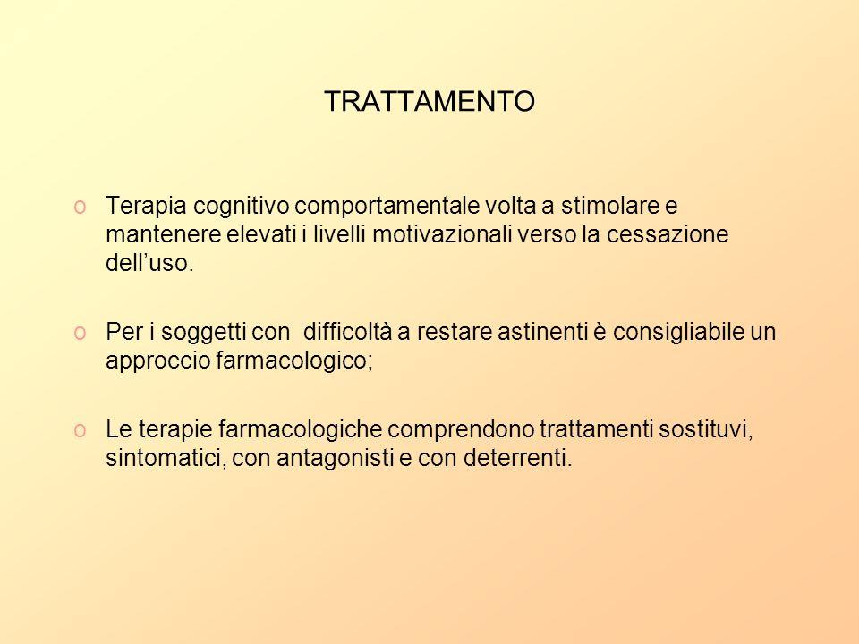 TRATTAMENTO oTerapia cognitivo comportamentale volta a stimolare e mantenere elevati i livelli motivazionali verso la cessazione delluso. oPer i sogge