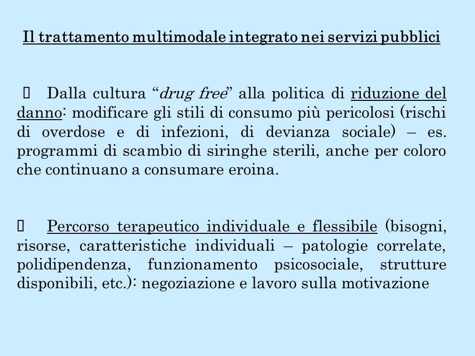 Il trattamento multimodale integrato nei servizi pubblici Dalla cultura drug free alla politica di riduzione del danno: modificare gli stili di consum