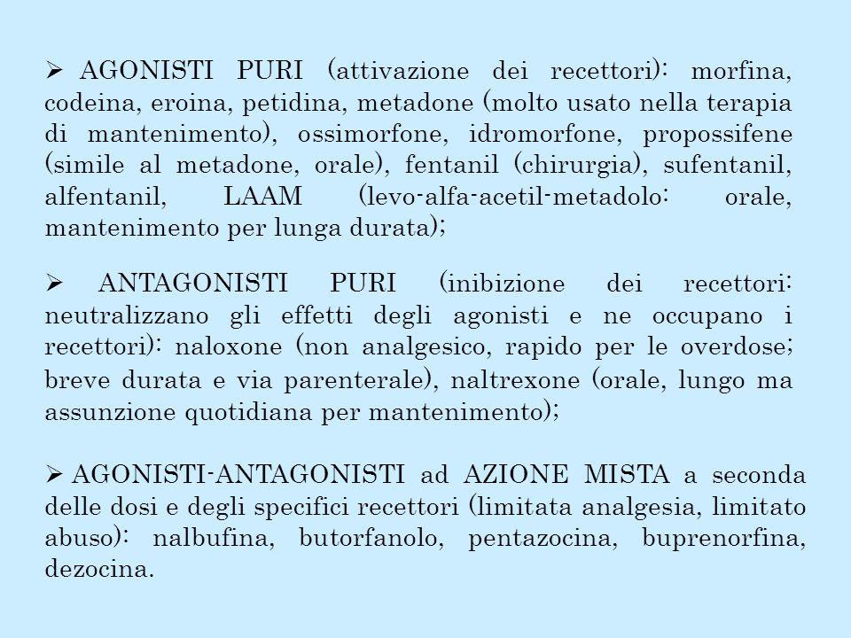AGONISTI PURI (attivazione dei recettori): morfina, codeina, eroina, petidina, metadone (molto usato nella terapia di mantenimento), ossimorfone, idro