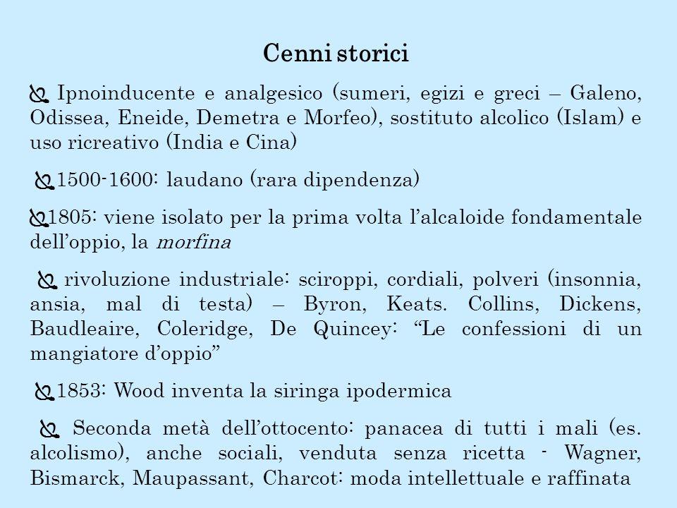 Cenni storici Ipnoinducente e analgesico (sumeri, egizi e greci – Galeno, Odissea, Eneide, Demetra e Morfeo), sostituto alcolico (Islam) e uso ricreat