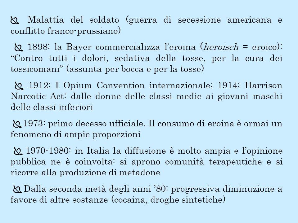 Malattia del soldato (guerra di secessione americana e conflitto franco-prussiano) 1898: la Bayer commercializza leroina (heroisch = eroico): Contro t