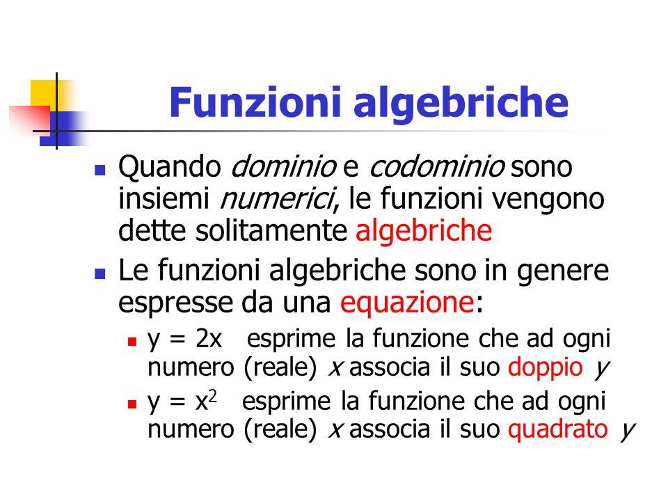 Funzioni algebriche Quando dominio e codominio sono insiemi numerici, le funzioni vengono dette solitamente algebriche Le funzioni algebriche sono in