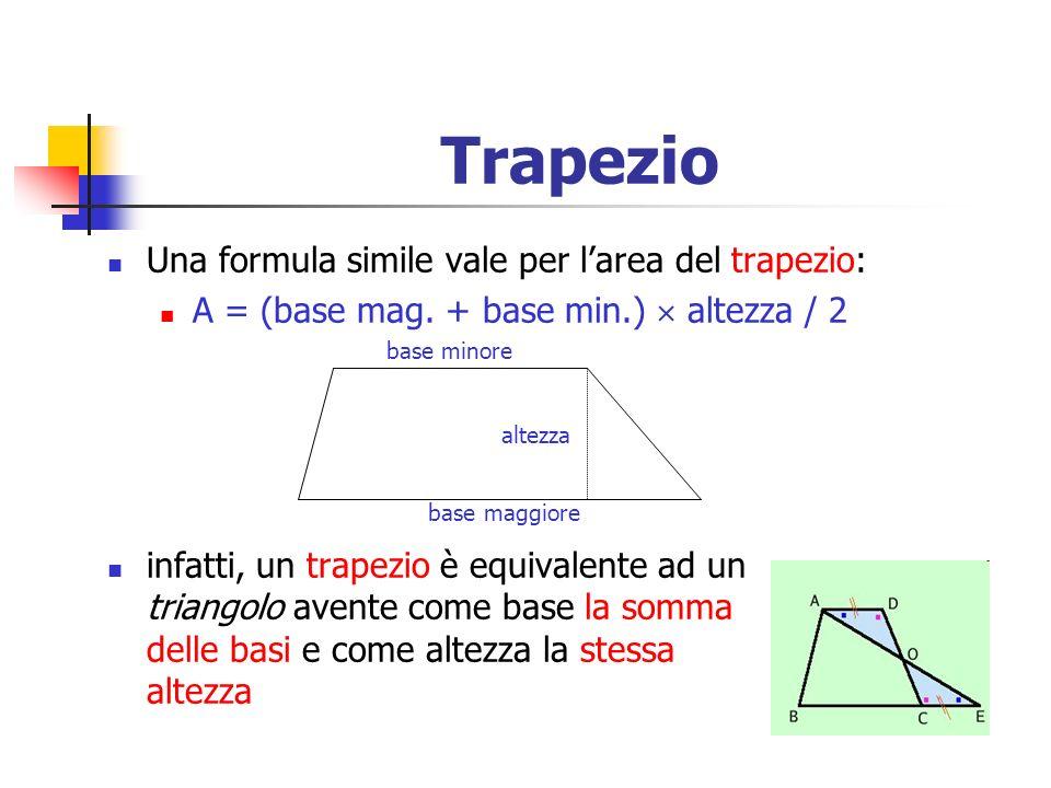 Trapezio Una formula simile vale per larea del trapezio: A = (base mag. + base min.) altezza / 2 base minore altezza base maggiore infatti, un trapezi