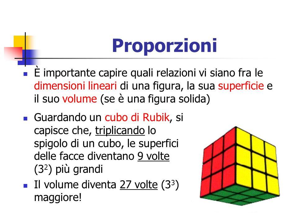 Proporzioni È importante capire quali relazioni vi siano fra le dimensioni lineari di una figura, la sua superficie e il suo volume (se è una figura s