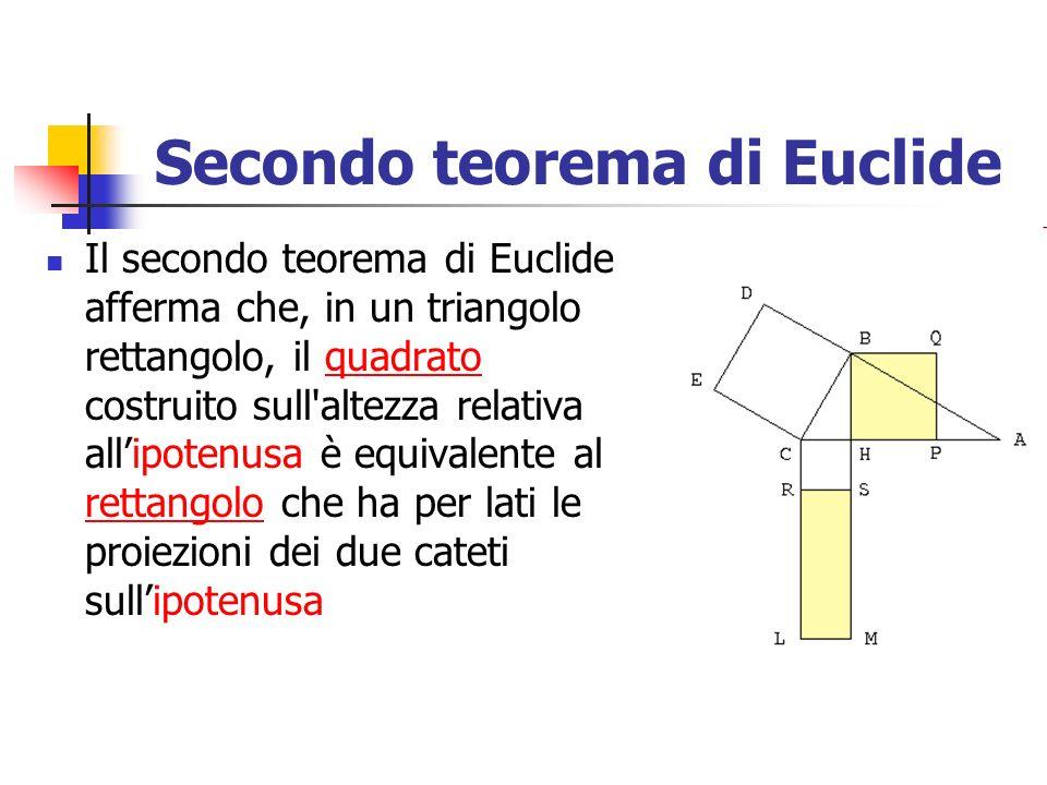 Secondo teorema di Euclide Il secondo teorema di Euclide afferma che, in un triangolo rettangolo, il quadrato costruito sull'altezza relativa allipote
