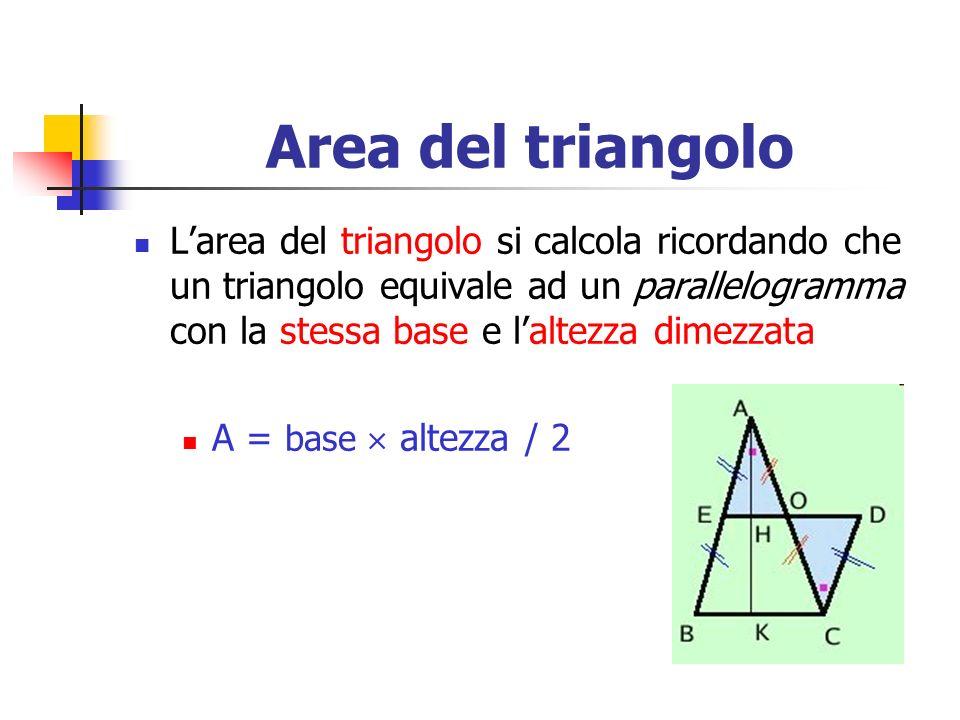 Area del triangolo Larea del triangolo si calcola ricordando che un triangolo equivale ad un parallelogramma con la stessa base e laltezza dimezzata A
