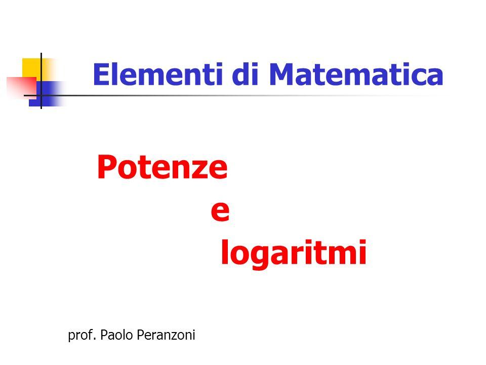 Esponenti interi positivi Le potenze ad esponente intero positivo si definiscono come moltiplicazioni ripetute Ad esempio, 3 5 = 3·3·3·3·3 (cinque volte) Per definizione, si pone 3 1 = 3 Dunque, a n (con n N [senza zero!]) è definita qualunque sia il numero reale a