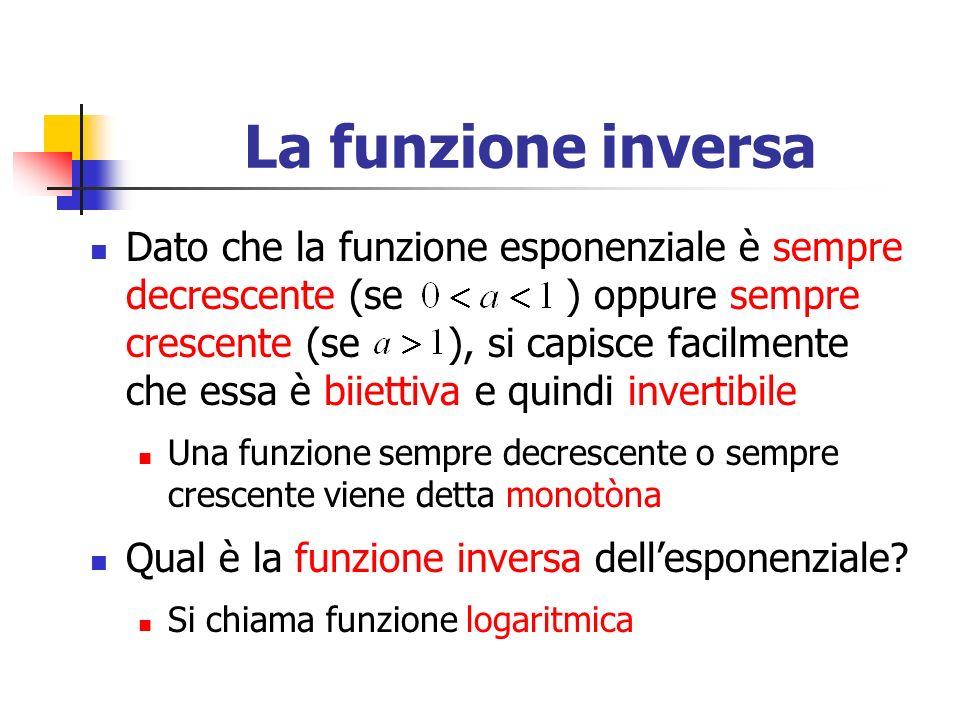 La funzione inversa Dato che la funzione esponenziale è sempre decrescente (se ) oppure sempre crescente (se ), si capisce facilmente che essa è biiettiva e quindi invertibile Una funzione sempre decrescente o sempre crescente viene detta monotòna Qual è la funzione inversa dellesponenziale.