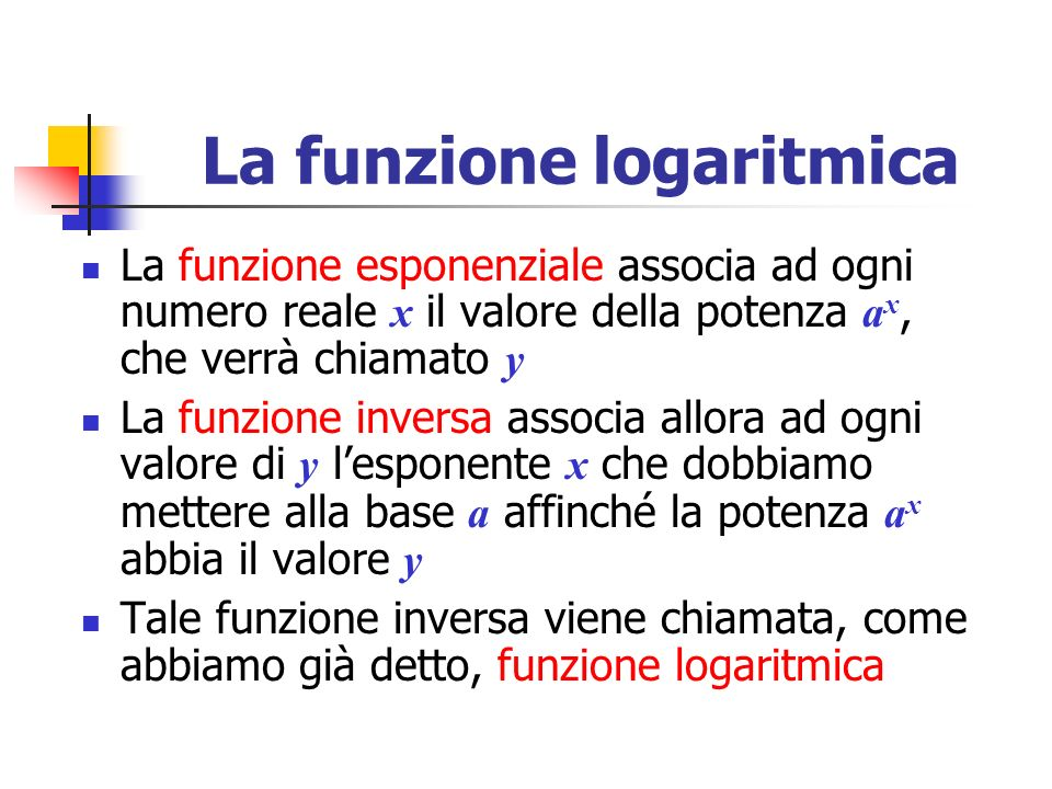 La funzione logaritmica La funzione esponenziale associa ad ogni numero reale x il valore della potenza a x, che verrà chiamato y La funzione inversa