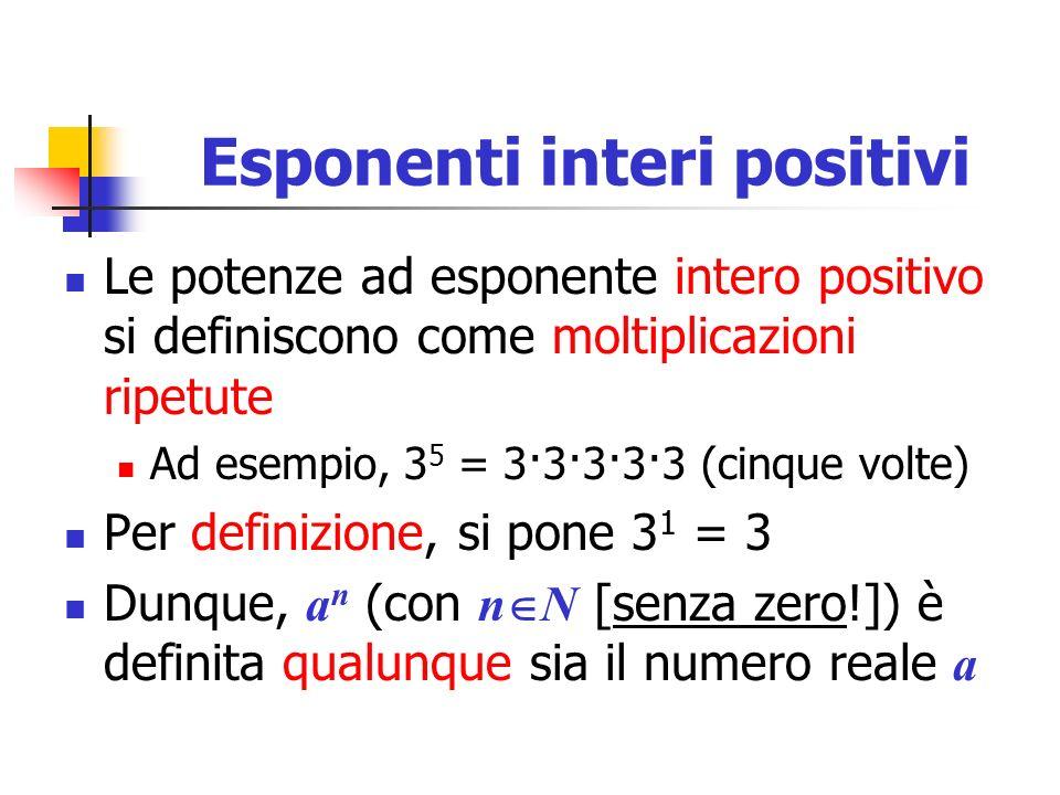 Esponenti interi positivi Le potenze ad esponente intero positivo si definiscono come moltiplicazioni ripetute Ad esempio, 3 5 = 3·3·3·3·3 (cinque vol