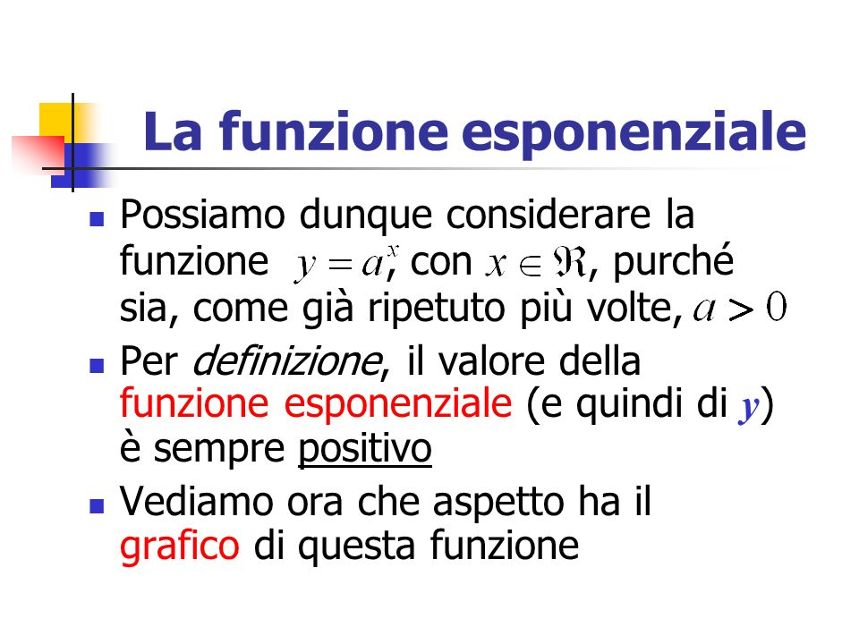 La funzione esponenziale Possiamo dunque considerare la funzione, con, purché sia, come già ripetuto più volte, Per definizione, il valore della funzione esponenziale (e quindi di y ) è sempre positivo Vediamo ora che aspetto ha il grafico di questa funzione