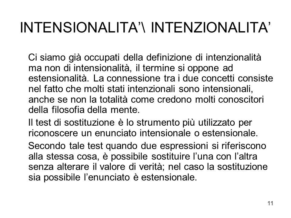 11 INTENSIONALITA\ INTENZIONALITA Ci siamo già occupati della definizione di intenzionalità ma non di intensionalità, il termine si oppone ad estensio