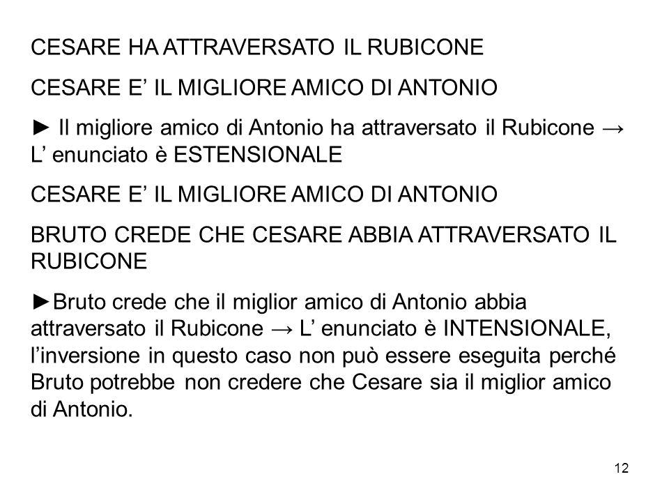 12 CESARE HA ATTRAVERSATO IL RUBICONE CESARE E IL MIGLIORE AMICO DI ANTONIO Il migliore amico di Antonio ha attraversato il Rubicone L enunciato è EST