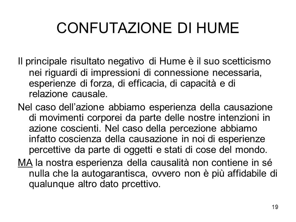 19 CONFUTAZIONE DI HUME Il principale risultato negativo di Hume è il suo scetticismo nei riguardi di impressioni di connessione necessaria, esperienz