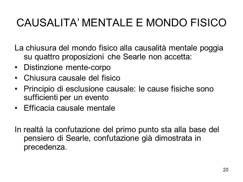 20 CAUSALITA MENTALE E MONDO FISICO La chiusura del mondo fisico alla causalità mentale poggia su quattro proposizioni che Searle non accetta: Distinz