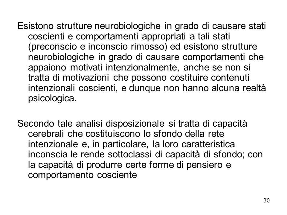 30 Esistono strutture neurobiologiche in grado di causare stati coscienti e comportamenti appropriati a tali stati (preconscio e inconscio rimosso) ed