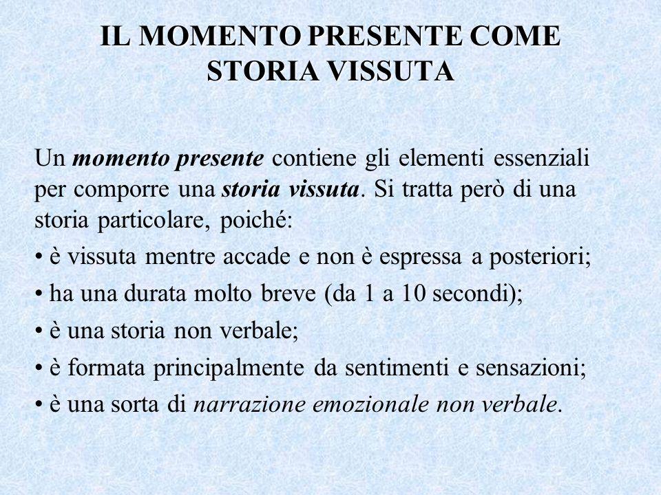 IL MOMENTO PRESENTE COME STORIA VISSUTA Un momento presente contiene gli elementi essenziali per comporre una storia vissuta. Si tratta però di una st