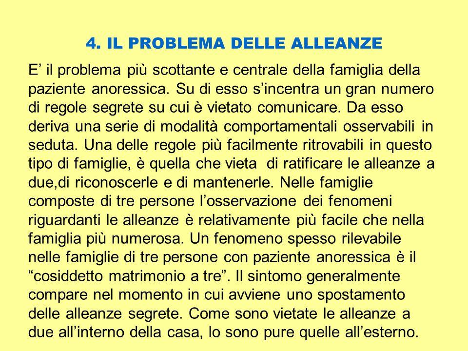 4. IL PROBLEMA DELLE ALLEANZE E il problema più scottante e centrale della famiglia della paziente anoressica. Su di esso sincentra un gran numero di