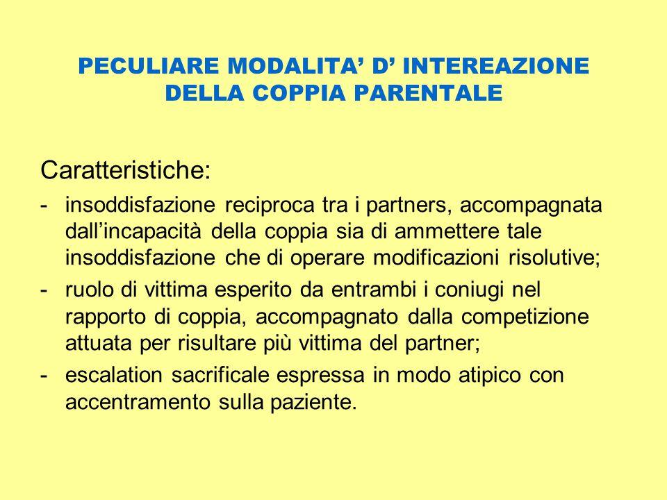 PECULIARE MODALITA D INTEREAZIONE DELLA COPPIA PARENTALE Caratteristiche: -insoddisfazione reciproca tra i partners, accompagnata dallincapacità della