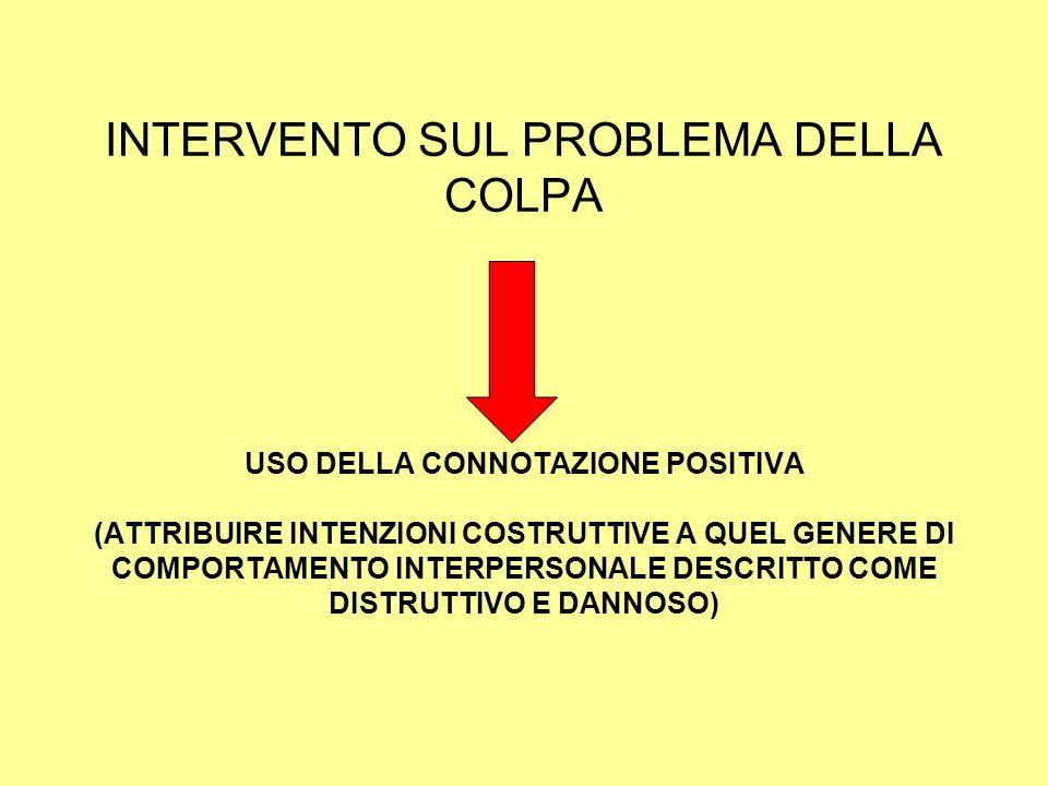 INTERVENTO SUL PROBLEMA DELLA COLPA USO DELLA CONNOTAZIONE POSITIVA (ATTRIBUIRE INTENZIONI COSTRUTTIVE A QUEL GENERE DI COMPORTAMENTO INTERPERSONALE D