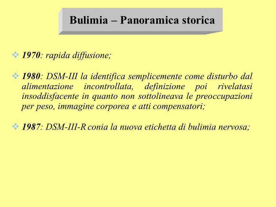 Bulimia – Panoramica storica 1970: rapida diffusione; 1980: DSM-III la identifica semplicemente come disturbo dal alimentazione incontrollata, definiz