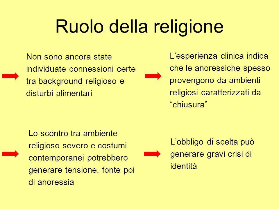 Ruolo della religione Non sono ancora state individuate connessioni certe tra background religioso e disturbi alimentari Lesperienza clinica indica ch