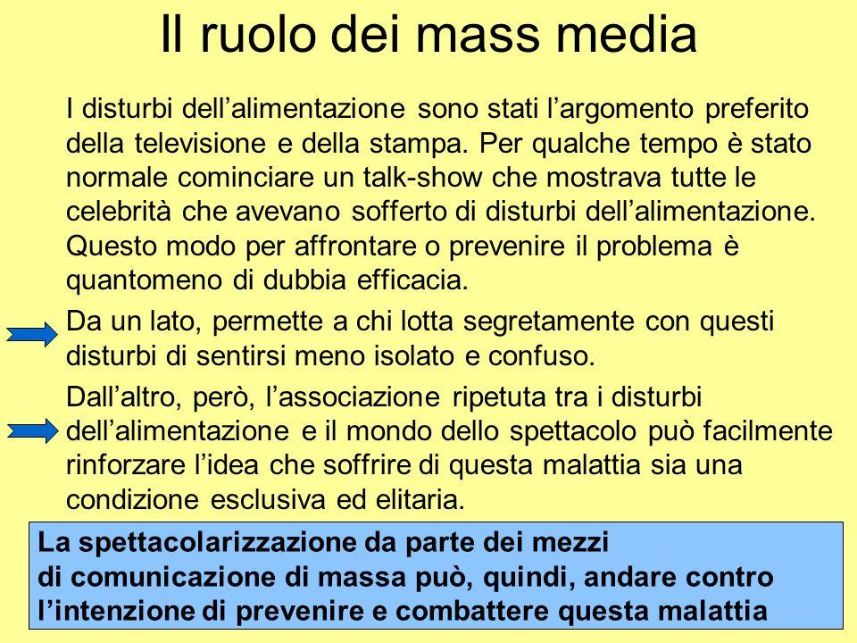 Il ruolo dei mass media I disturbi dellalimentazione sono stati largomento preferito della televisione e della stampa. Per qualche tempo è stato norma