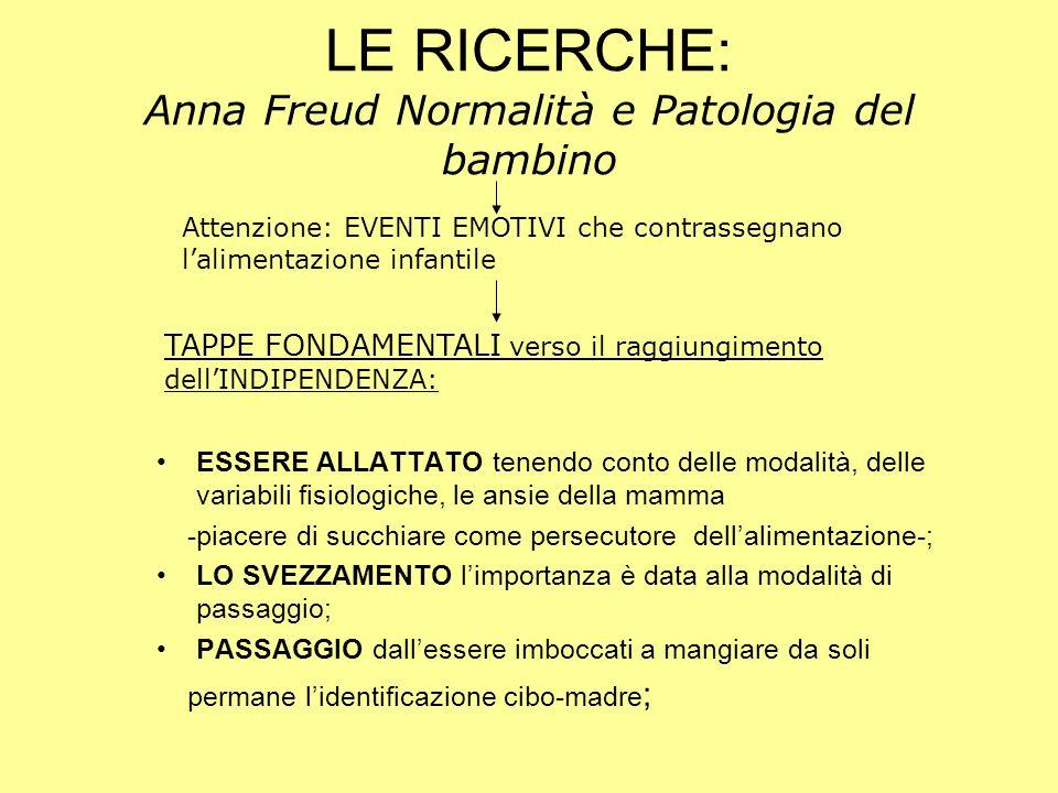 LE RICERCHE: Anna Freud Normalità e Patologia del bambino ESSERE ALLATTATO tenendo conto delle modalità, delle variabili fisiologiche, le ansie della