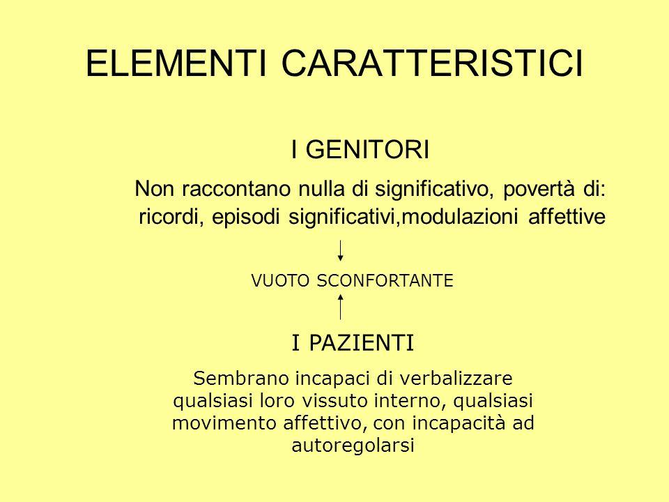 ELEMENTI CARATTERISTICI I GENITORI Non raccontano nulla di significativo, povertà di: ricordi, episodi significativi,modulazioni affettive VUOTO SCONF