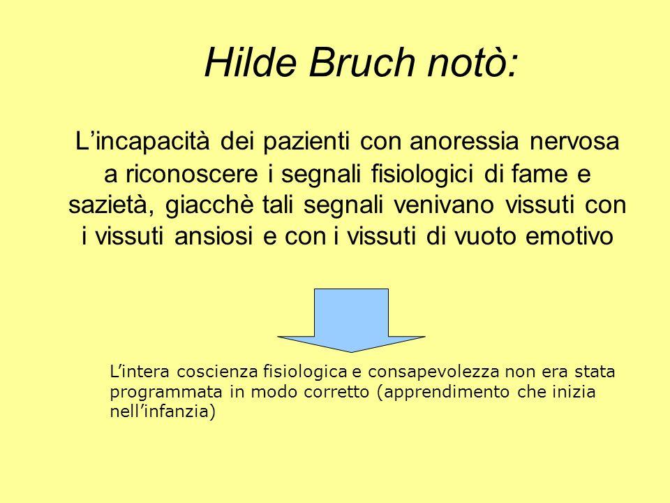Hilde Bruch notò: Lincapacità dei pazienti con anoressia nervosa a riconoscere i segnali fisiologici di fame e sazietà, giacchè tali segnali venivano