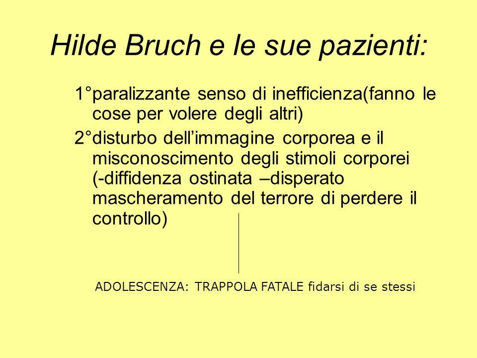 Hilde Bruch e le sue pazienti: 1°paralizzante senso di inefficienza(fanno le cose per volere degli altri) 2°disturbo dellimmagine corporea e il miscon