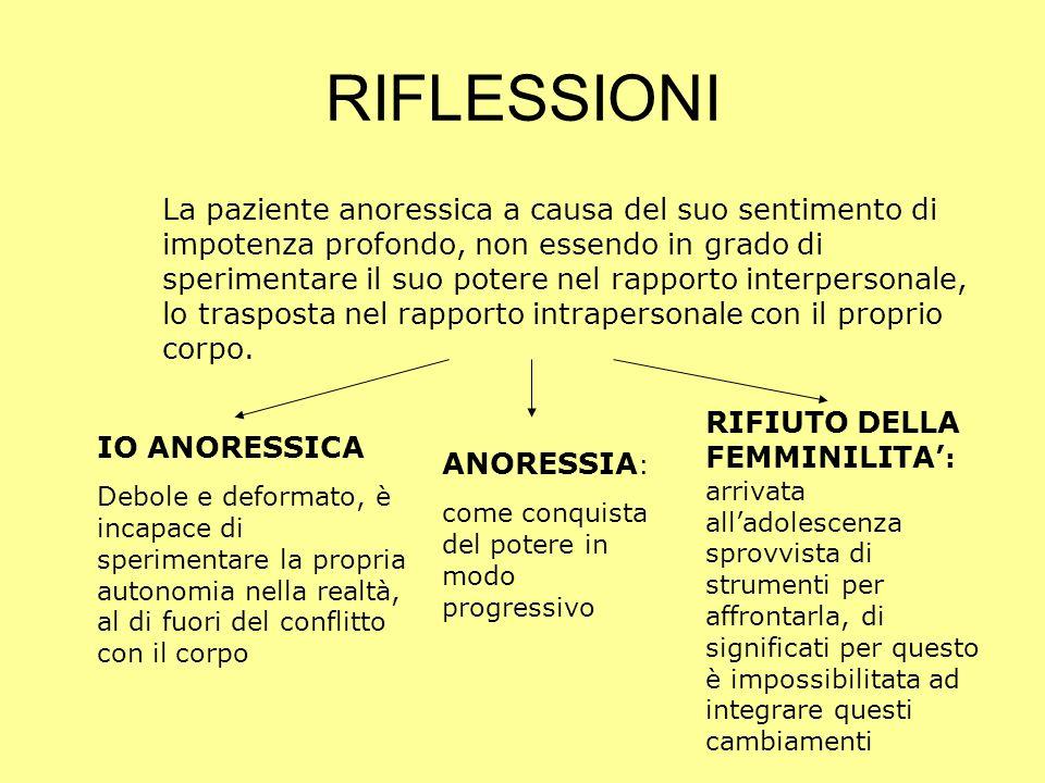 RIFLESSIONI La paziente anoressica a causa del suo sentimento di impotenza profondo, non essendo in grado di sperimentare il suo potere nel rapporto i