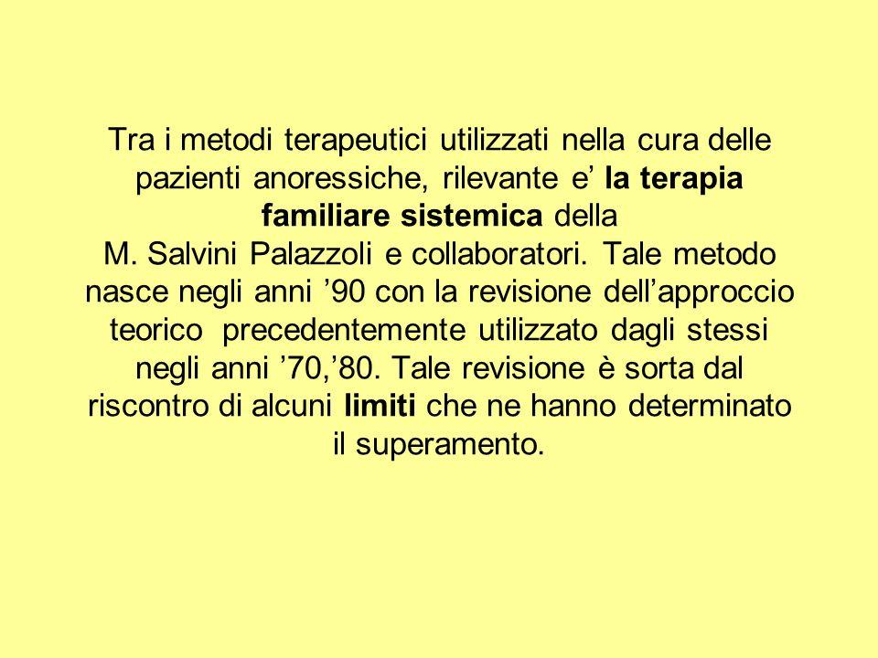 Tra i metodi terapeutici utilizzati nella cura delle pazienti anoressiche, rilevante e la terapia familiare sistemica della M. Salvini Palazzoli e col