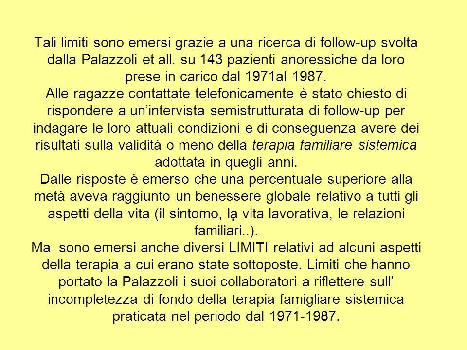 Tali limiti sono emersi grazie a una ricerca di follow-up svolta dalla Palazzoli et all. su 143 pazienti anoressiche da loro prese in carico dal 1971a