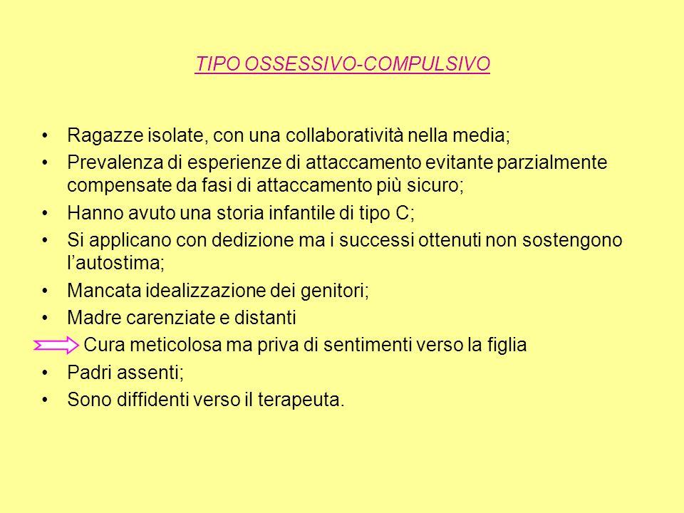 TIPO OSSESSIVO-COMPULSIVO Ragazze isolate, con una collaboratività nella media; Prevalenza di esperienze di attaccamento evitante parzialmente compens