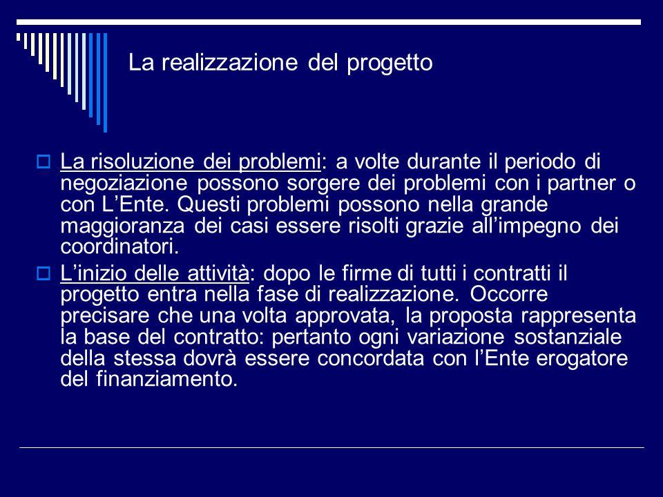 La realizzazione del progetto La risoluzione dei problemi: a volte durante il periodo di negoziazione possono sorgere dei problemi con i partner o con