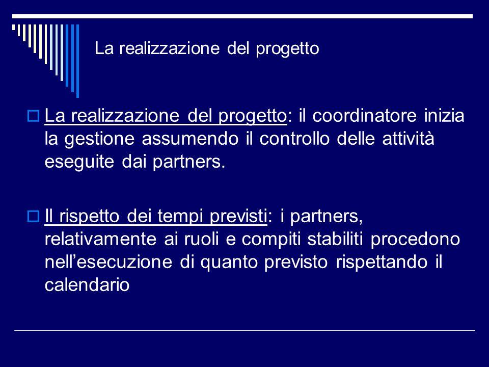La realizzazione del progetto La realizzazione del progetto: il coordinatore inizia la gestione assumendo il controllo delle attività eseguite dai par