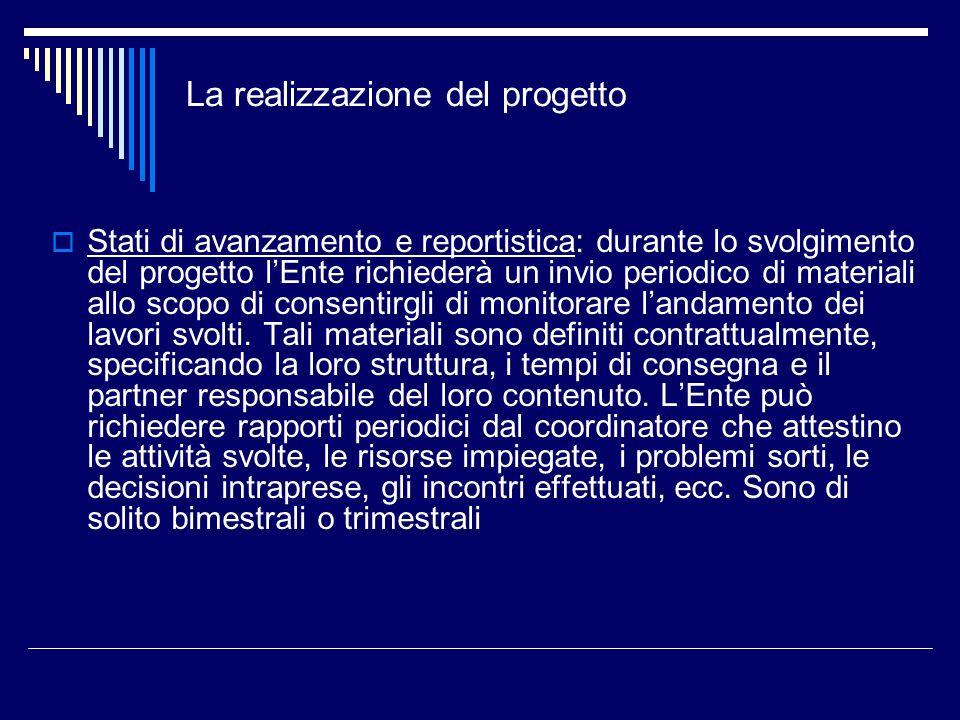 La realizzazione del progetto Stati di avanzamento e reportistica: durante lo svolgimento del progetto lEnte richiederà un invio periodico di material