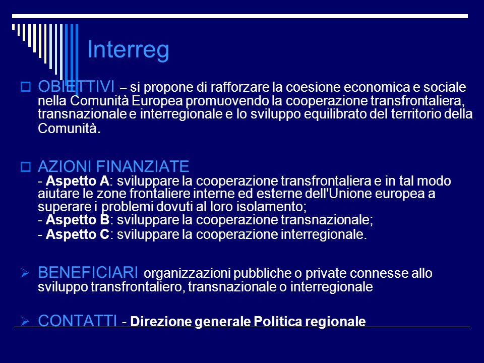 Interreg OBIETTIVI – si propone di rafforzare la coesione economica e sociale nella Comunità Europea promuovendo la cooperazione transfrontaliera, tra