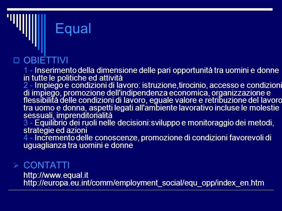 Equal OBIETTIVI 1 - Inserimento della dimensione delle pari opportunità tra uomini e donne in tutte le politiche ed attività 2 - Impiego e condizioni