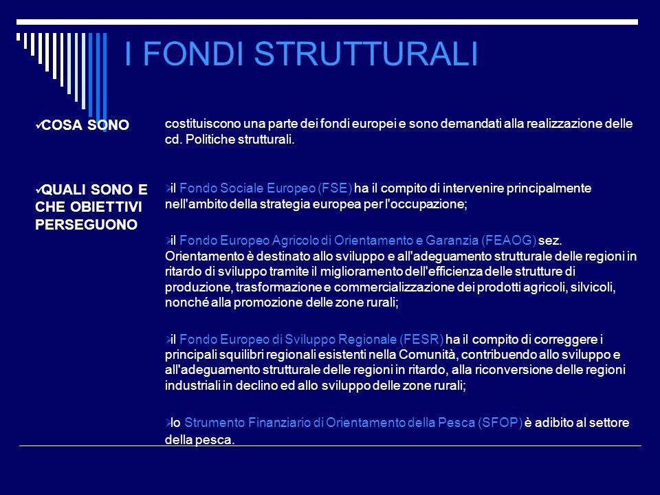 COSA SONO costituiscono una parte dei fondi europei e sono demandati alla realizzazione delle cd. Politiche strutturali. QUALI SONO E CHE OBIETTIVI PE